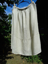 NWOT FLAX L Wheat Ripple Skirt green/beige textured linen 2012 Socials
