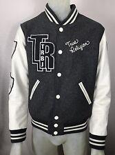"True Religion ""Richie"" Varsity Letterman GREY Wool Jacket Size Small Brooklyn"