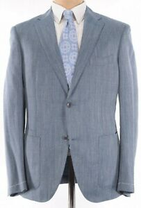 Luciano Barbera NWT Sport Coat Size 40R In Light Blue Wool/Silk/Linen $1,795