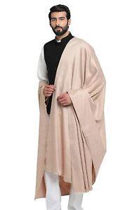 "Beige Men's Plain Woolen Dhariwal Lohi Shawl Scarf Scarves 50"" X 100"""