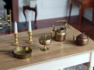 Dollhouse Miniature Artisan Brass Copper Tea Pot Candle Sticks Dish Lot 1:12