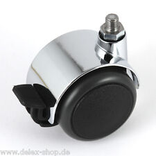 Möbelrolle 50 mm für USM Haller Rolle Hartbodenrolle Chrom mit Bremse Lenkrolle