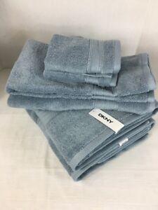 DKNY Bathroom Towel Set Six Piece Steel Blue 100% Cotton Bath Hand Face Cloth