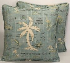 "2 18"" Tommy Bahama Outdoor Fabric Island Song Surf Decorative Throw Pillows"