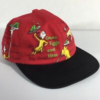 Dr Seuss Green Eggs & Ham Snapback Vintage Hat Baseball Cap Red With Black Bill