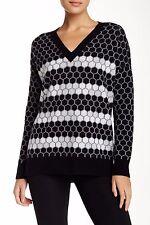 NEW VINCE Birds Eye Print Wool-Cashmere Blend Sweater-Black, White Size S $365
