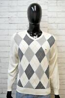 TOMMY HILFIGER Uomo Maglione Taglia S Pullover Cardigan Felpa Sweater Quadri