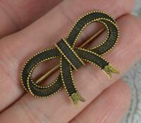 Rare Georgian 15ct Gold Mourning Brooch as a Ribbon