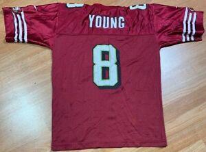 VTG 90's Reebok San Francisco 49ers Steve Young NFL Youth Boys SZ S Red