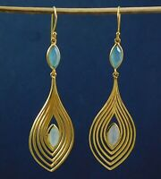 Solid 925 Sterling Silver Chalcedony Gemstone Handmade Drop Gold Plated Earring