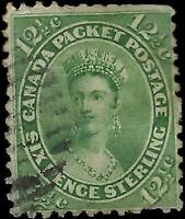 VEGAS - 1859 Canada - Sc# 18 - 12 1/2c - Used - Lt Cancel - Perf Issues - (FC1)