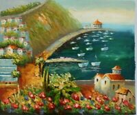 "Harbor Hand Painted High Quality Oil Painting on Canvas 20""x 24"""