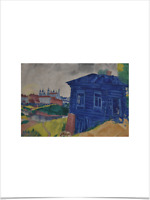 MARC CHAGALL BLUE HOUSE LIMITED EDITION BIG BORDERS ART PRINT 18X24 castle green