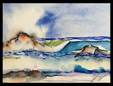 "New Original KEN Seascape Watercolor Painting 5.5x7.5"" Pacific Ocean Surf 030220"