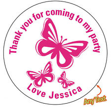 35 Personalised Pink Butterfly Birthday Party bag Stickers Thank you Sweet 742