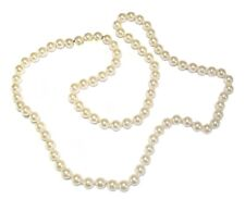 Cream Faux Pearl Bead Long Necklace Single Strand Women Ladies Wedding Jewellery