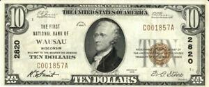 Wisconsin Wausau $10 Dollars First National Bank National Currency 1929 VF/XF