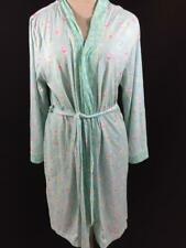 Jasmine Rose robe size L large open front long sleeve 2 pockets blue pink floral