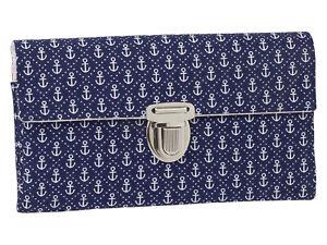 Damenbörse Damen Geldbörse Portemonnaie Stoff Anker Blau Handmade Dawanda
