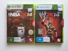 2x XBOX 360 Games - NBA 2K14, W 2K14 Wrestling - Sealed