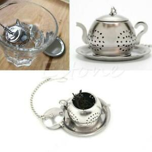 New Stainless Loose Tea Leaf Infuser Tray Spice Strainer Filter Herb Diffuser