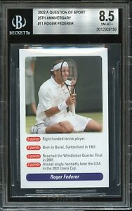 2002 A Question of Sport #11 Roger Federer TRUE RC Rookie Card BGS 8.5 NM-MT+