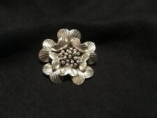 Hill Tribe Silver FLOWER PENDANT Large HANDMADE 42x40mm USA Seller  Purity .98