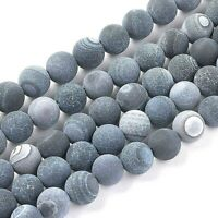 Agate 8mm Beads Natural Weathered Frosted Black 1 Strand Approx 46 Pieces
