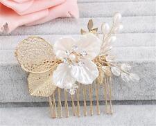Pearls Bridal Accessories Floral Hair Comb Diamante Wedding Headpiece 1 Piece