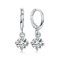 Women Silver Plated Jewelry Cubic Zirconia Drop Dangle Ear Hoop Huggie Earrings