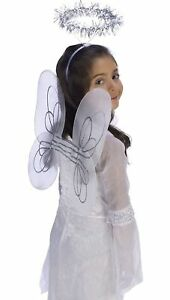 Angel Set - Wings & Halo - White/Silver - Costume Accessories - Child Small Teen