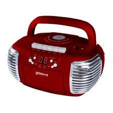 GROOV-E RETRO BOOMBOX PORTABLE CD CASSETTE AND FM RADIO PLAYER - RED