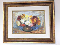 SHMUEL LAMM (1905-1944) JEWISH JUDAICA OIL ON CANVAS; VASE OF FLOWERS