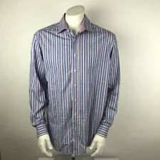 Bugatchi Men's Plaid Shirt Shaped Fit XL Blue Pink Long Sleeve Square Buttons