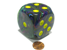 Festive 50mm Huge Large D6 Chessex Dice, 1 Piece - Rio with Yellow Pips