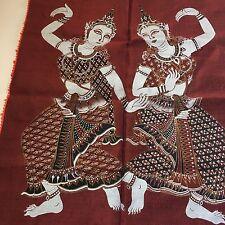 Thai Siam dancer temple silk Painting Art Unframed Indonesia Thailand vintage