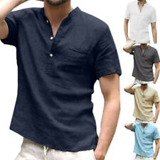 Mens Summer Short Sleeve T Shirt Henley Shirts Holiday Casual Blouse Tops Tee AU