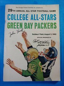 1962 COLLEGE ALL STARS vs GREEN BAY PACKERS FOOTBALL PROGRAM EX-MINT HADL AUTO