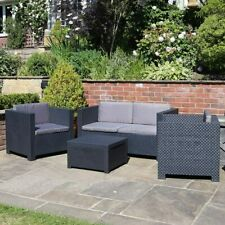 More details for shaf plastic rattan garden furniture outdoor 4pcs patio sofa set chairs table