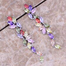 Multi-Color Multigem Red Garnet Silver Drop Dangle Earrings For Women S0194