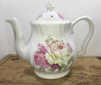 VINTAGE LEFTON WHITE TEAPOT W/ PINK ROSES & GOLD TRIM MADE IN ENGLAND