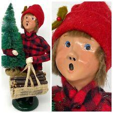 "10"" BYERS CHOICE CAROLER – YOUNG BOY W/CHRISTMAS TREE & FIREWOOD"
