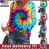 Womens Long Sleeve Rainbow Tie Dye Pullover T-Shirt Loose Jumper Tops Sweatshirt