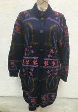 Ladies Coat 42 Hand Knit UK 14 Blue Wool 70s Knee Button Retro Granny Cardigan