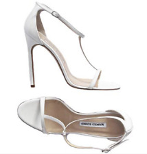 MANOLO BLAHNIK Eggshell White Patent Leather T Strap Sandals Size 38
