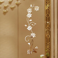 KQ_ Removable 3D Mirror Flower Art Wall Sticker Acrylic Mural Decal Home Room De