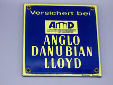 "Vintage Austrian Porcelain ""Anglo Danubian Lloyd"" Fire Insurance Sign"