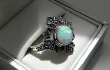 Neo-Victorian! 925 sterling silver opalite marcasite cluster ring size S (US 9)