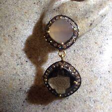 Vintage Real Rose Quartz White Sapphire 925 Sterling Silver Chandelier Earrings