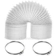 "Universal Tumble Dryer 6m Extra Long Vent Hose 4"" PVC Strong Pipe Jubilee Clips"